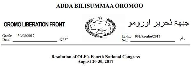 Resolution of OLF's Fourth National Congress August 20-30, 2017